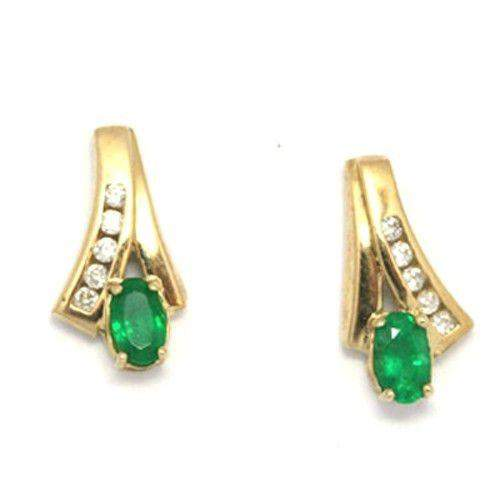 9ct Gold & Emerald Earrings e1191-Ogham Jewellery