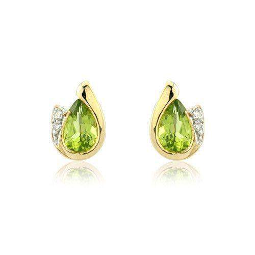 9ct Gold Peridot Earrings - MMCH038-7YDPER-Ogham Jewellery
