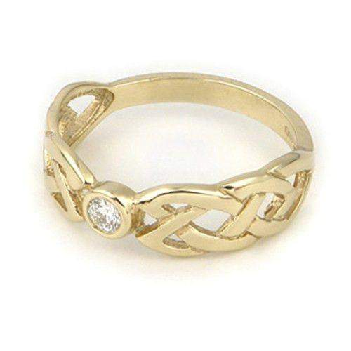 9ct or 18ct Yellow or White Gold Celtic Engagement or Wedding Ring -DR5-Ogham Jewellery