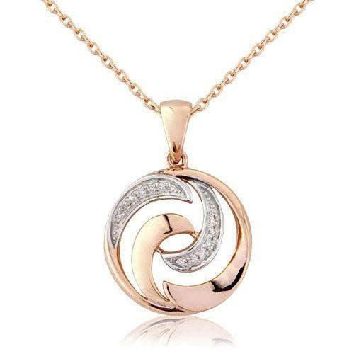 9ct Rose and White Gold Swirl Pendant on Chain With Diamonds - MM6S87RD