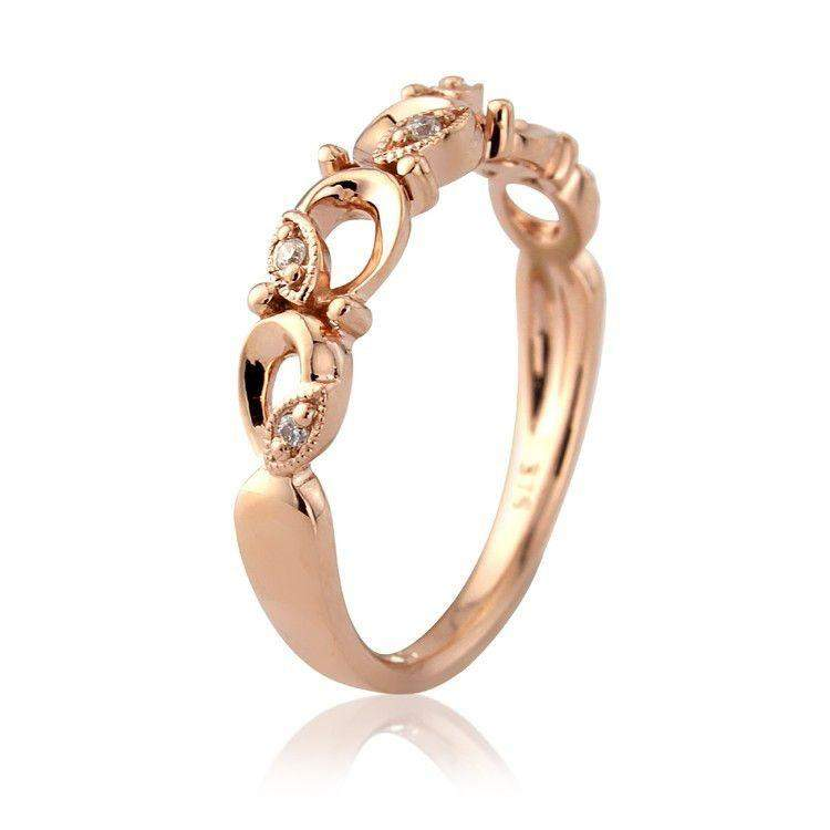 9ct Rose Gold Ring with Diamonds - MM1U74RD-Ogham Jewellery