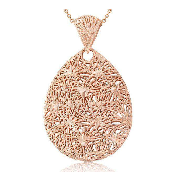 9ct Rose Gold Tear Drop Pendant on Chain -6T72R-Ogham Jewellery