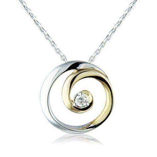 9ct White and Yellow Gold Circle Pendant 6L58D