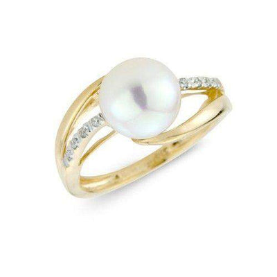 9ct White and Yellow Gold Diamond and Pearl Ring - MM1R39DCP-Ogham Jewellery