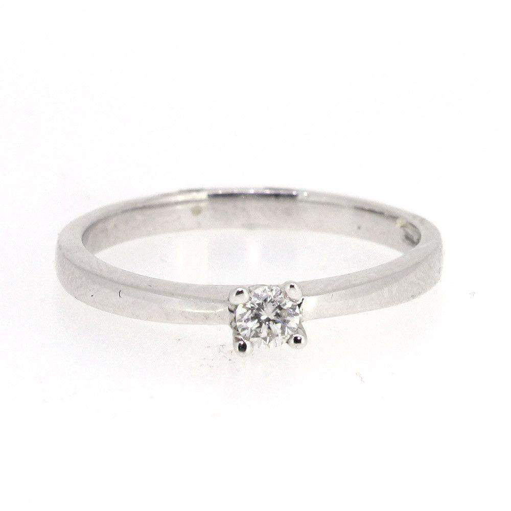 9ct White Gold 0.1ct Round Brilliant Cut Diamond Engagement Ring - 2557-Ogham Jewellery