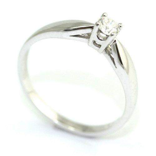 9ct White Gold 15 Point Round Brilliant Cut Diamond Engagement Ring-Ogham Jewellery