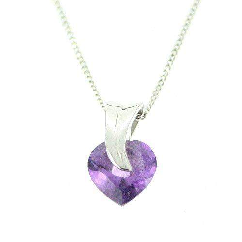 9ct White Gold And Amethyst Pendant-AP34-Ogham Jewellery