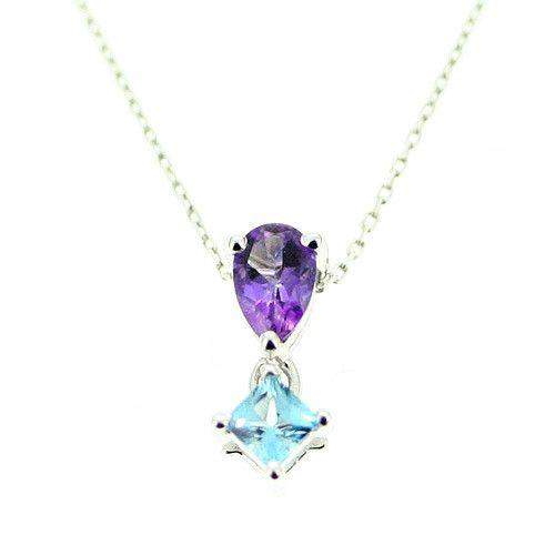 9ct White Gold And Gemstone Pendant-MG24
