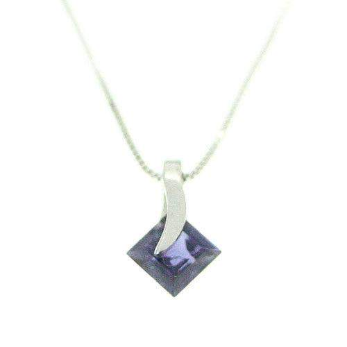 9ct White Gold And Iolite Pendant -A6734-Ogham Jewellery
