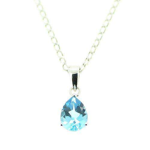 9ct White Gold And Topaz Pendant-GP113