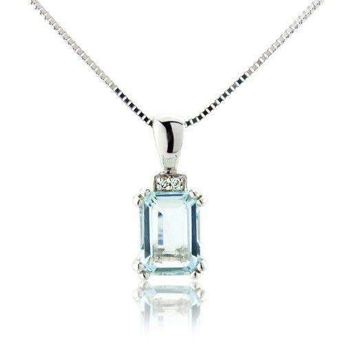 9ct White Gold Aquamarine & Diamonds Pendant - MM6122WDAQ-Ogham Jewellery