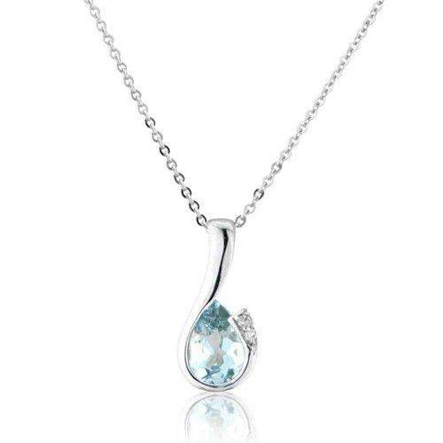 9ct White Gold Aquamarine Pendant on Chain - MMCH038-6WDAQ-Ogham Jewellery
