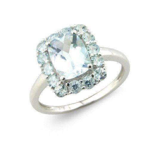 9ct White Gold Aquamarine Ring - MM1R87WAQ