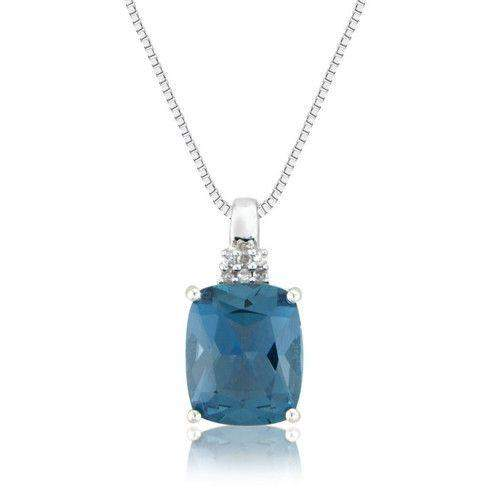 9ct White Gold Blue Topaz & Diamonds Pendant - MM2R38WDBT-Ogham Jewellery