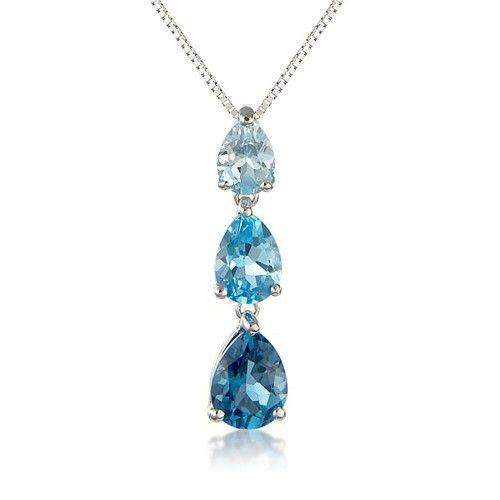 9ct White Gold Blue Topaz Pendant  6N87WBT