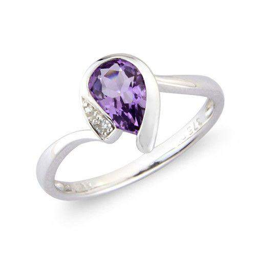 9ct White Gold Diamond and Amethyst Ring - MMCH038-1WDAM-Ogham Jewellery