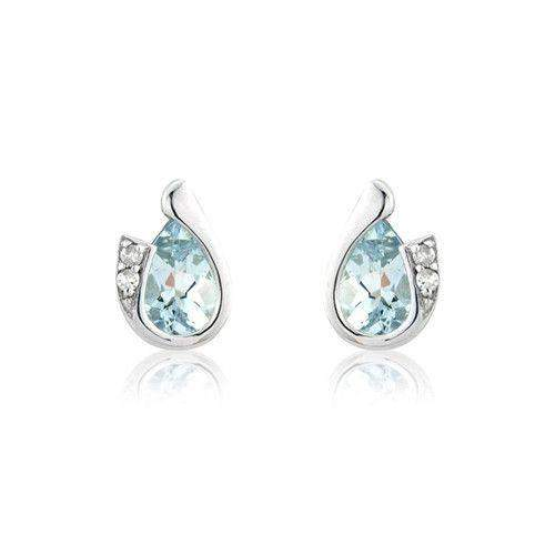 9ct White Gold Diamond and Aquamarine Earrings - MMCH038-7WDAQ-Ogham Jewellery