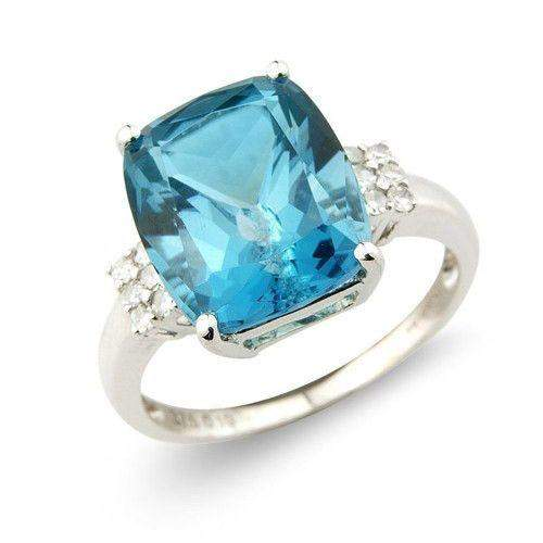 9ct White Gold Diamond and Blue Topaz Ring - MM1Q85WDBT-Ogham Jewellery