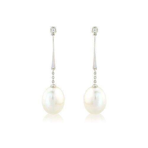 9ct White Gold Diamond and Pearl Earrings - MM8F30WDCP-Ogham Jewellery