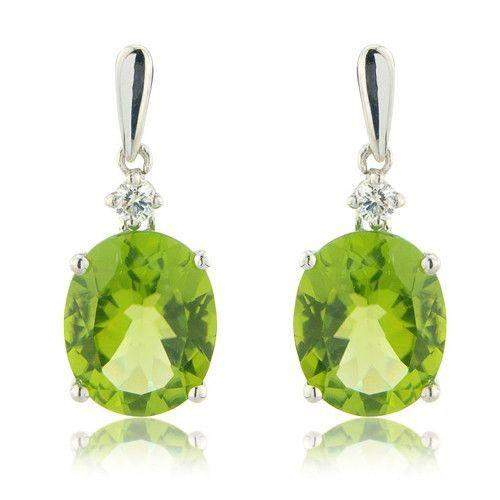 9ct White Gold Diamond and Peridot Earrings - MMCH520-7WDPER-Ogham Jewellery