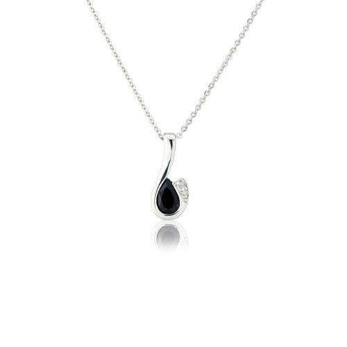 9ct White Gold Diamond and Sapphire Necklet - MMCH038-6WDSA-Ogham Jewellery