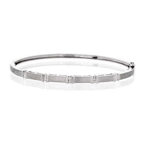 9ct White Gold & Diamonds Bangle - J1040-Ogham Jewellery