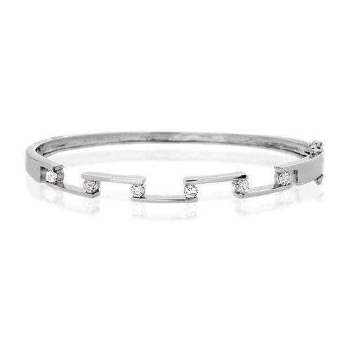 9ct White Gold & Diamonds Bangle - J1050-Ogham Jewellery