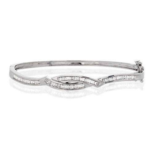 9ct White Gold & Diamonds Bangle - J1058-Ogham Jewellery