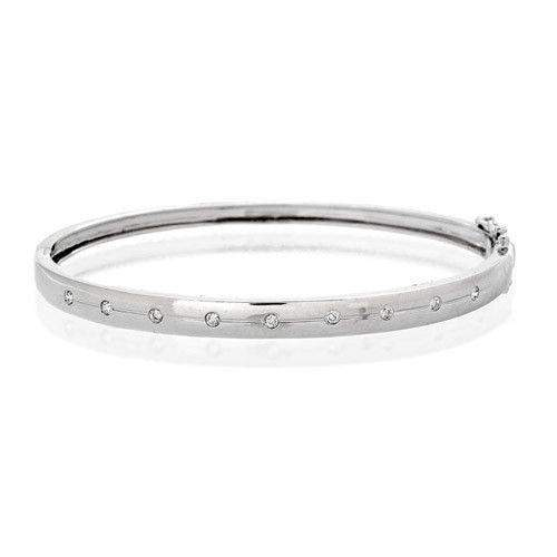 9ct White Gold & Diamonds Bangle - J1096-Ogham Jewellery
