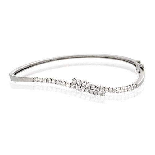 9ct White Gold & Diamonds Bangle - J1098-Ogham Jewellery