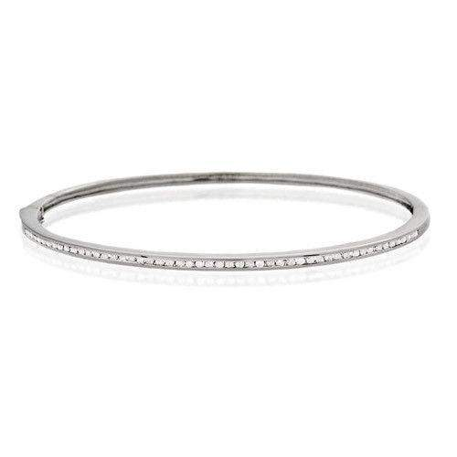 9ct White Gold & Diamonds Bangle - J1106-Ogham Jewellery