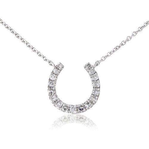 9ct White Gold Horseshoe Necklet With Diamonds - MM2V29WD-Ogham Jewellery