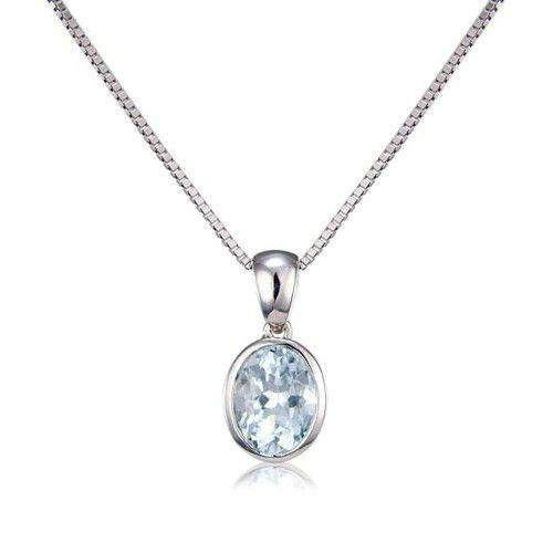 9ct White Gold Oval Aquamarine Pendant MM6E67WAQ