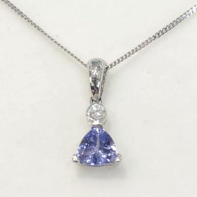 9ct White Gold Tanzanite and Diamond Pendant - 6102WTD-Ogham Jewellery
