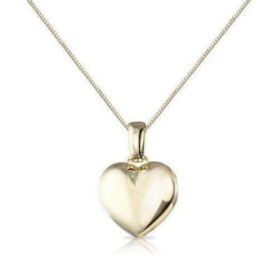 9ct White or Yellow Gold Small Heart Pendant - 6M99W-Ogham Jewellery