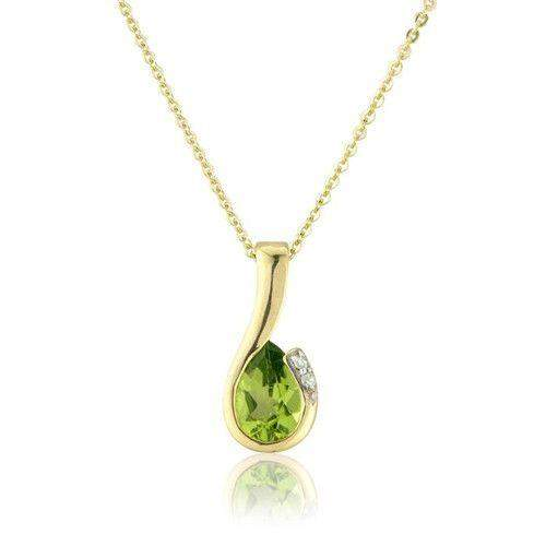 9ct Yellow Gold Diamond and Pear Peridot Pendant on Chain MMCH038-6YDPER-Ogham Jewellery