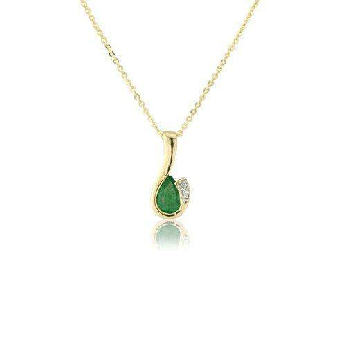 9ct Yellow Gold Emerald Birthstone - MMCH038-6YDE-Ogham Jewellery