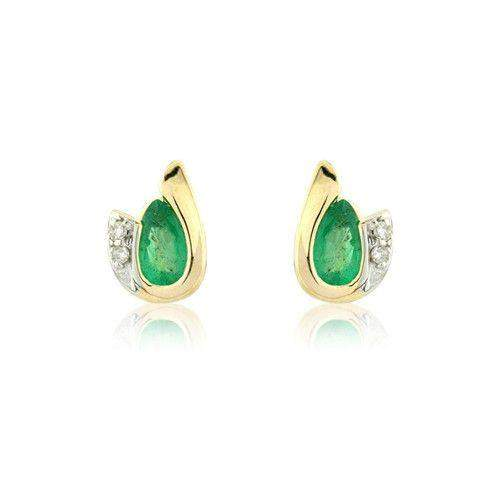 9ct Yellow Gold Emerald Earrings - MMCH038-7YDE-Ogham Jewellery