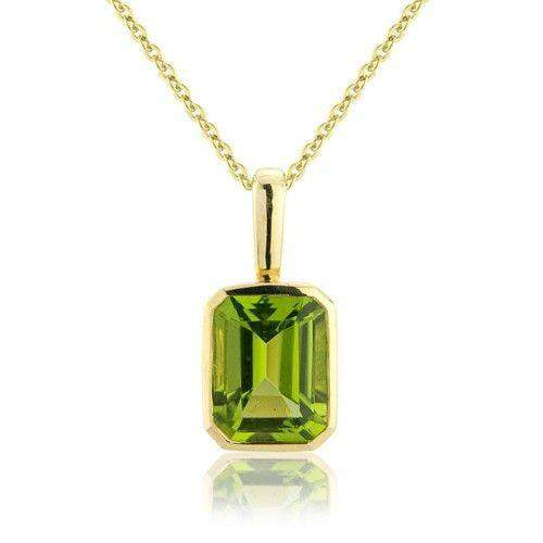 9ct Yellow Gold Large Octagon Peridot Pendant MMCH075-6YPER-Ogham Jewellery