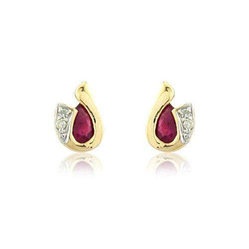 9ct Yellow Gold Ruby Earrings - MMCH038-7YDRU-Ogham Jewellery