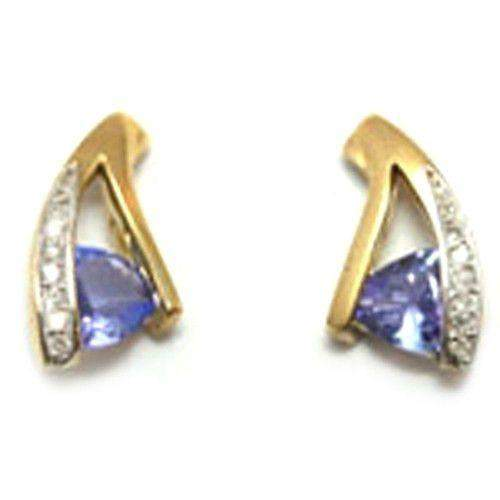 9ct Yellow Gold & Tazanite Earrings e1764