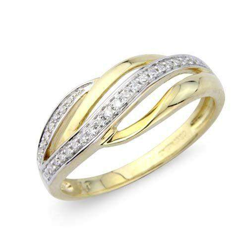 9ct Yellow Gold Twist Ring with Diamonds - MM1W11D-Ogham Jewellery