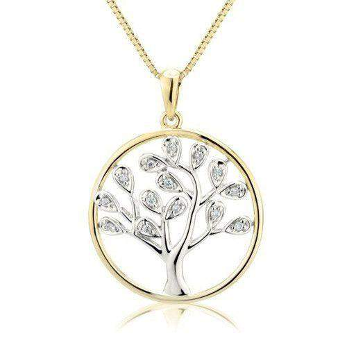 9ct Yellow & White Gold & Diamond Tree of Life Pendant - MM6Q46D-Ogham Jewellery