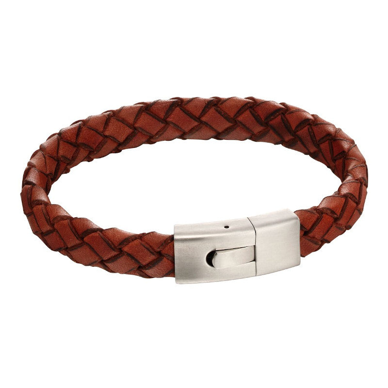 Fred Bennett Orange Leather Bracelet with Elastic Clasp - B5130