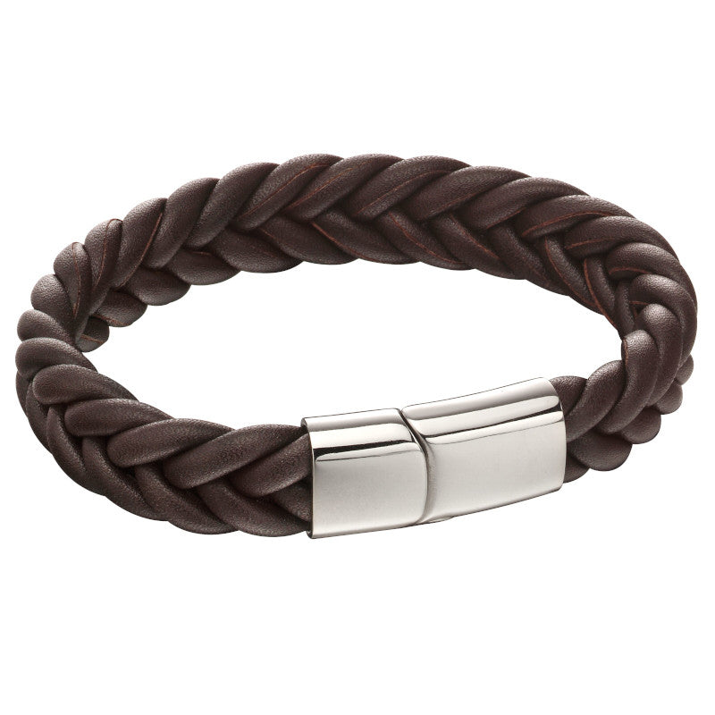 Fred Bennett Leather And Stainless Steel Bracelet  - B5140