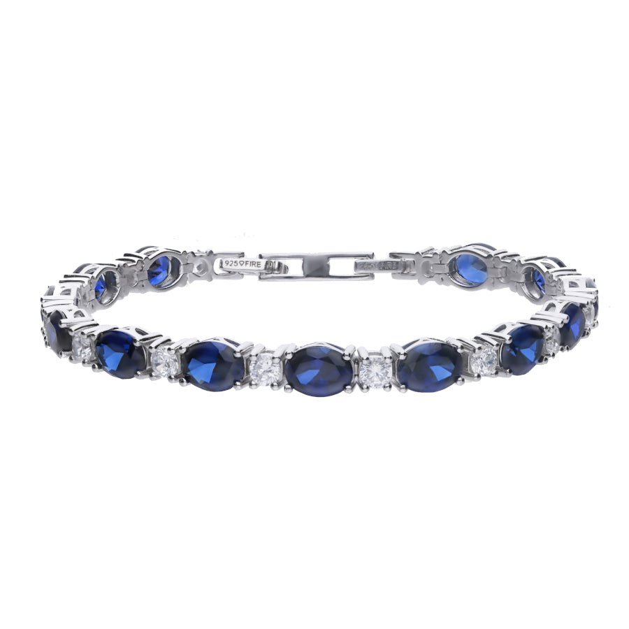 Blue Sapphire Coloured Tennis Bracelet - B5205