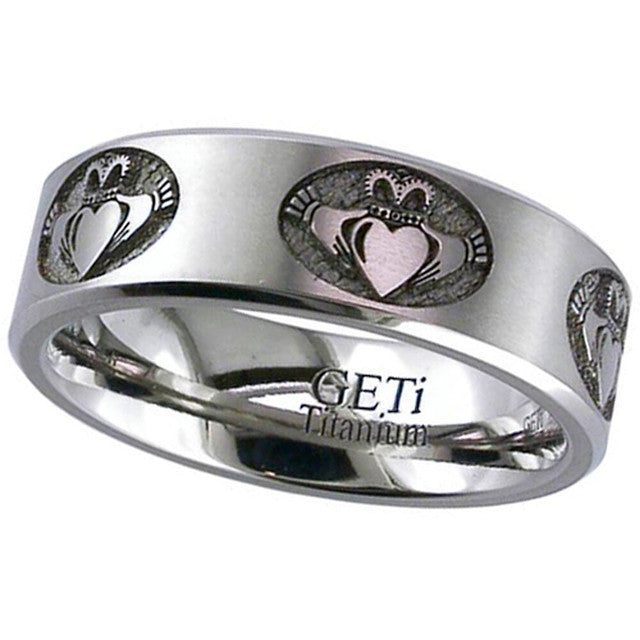 Titanium Carved Claddagh Ring - 2226CH-CLADDAGH2