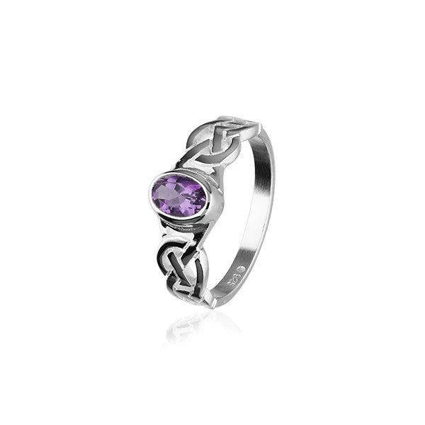 Celtic Knotwork Silver & Amethyst Ring - CR53