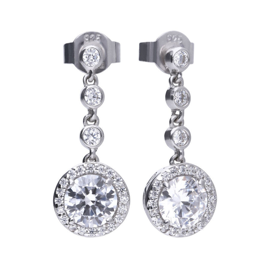 Round Drop Zirconia Earrings - E5588