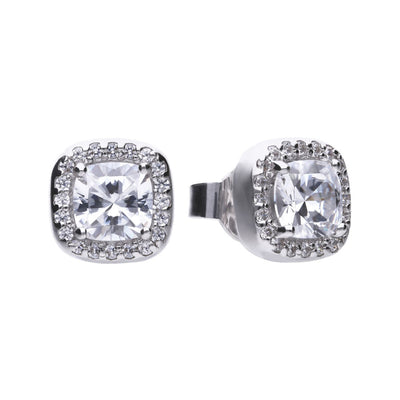 Square Solitaire and Pave Stud Earrings - E5590